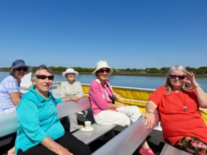 Enjoying the view from the top deck of the Ferryman boat up the Pumistone Passage.  L to R : Noelene, Shirley , Helen,Elizabeth and Doris.