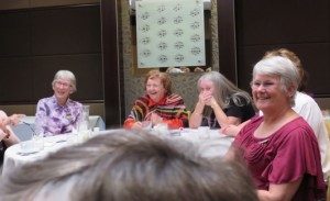 p39 Pine Rivers VIEW Club:  Our speaker Betty Vann had us all in fits of laughter – pictured listening to Betty are Margaret R, Margaret E, Doris and Kathy.